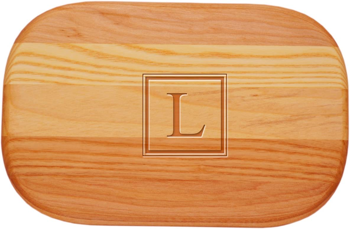 Carved Solutions Small Everyday Board with Etched Square Single Initial A.