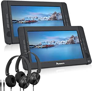 "NAVISKAUTO 10.1"" Dual Screen Portable DVD Player for Car, Headrest Video Player with Headphones, 5-Hour Rechargeable Battery and Last Memory"