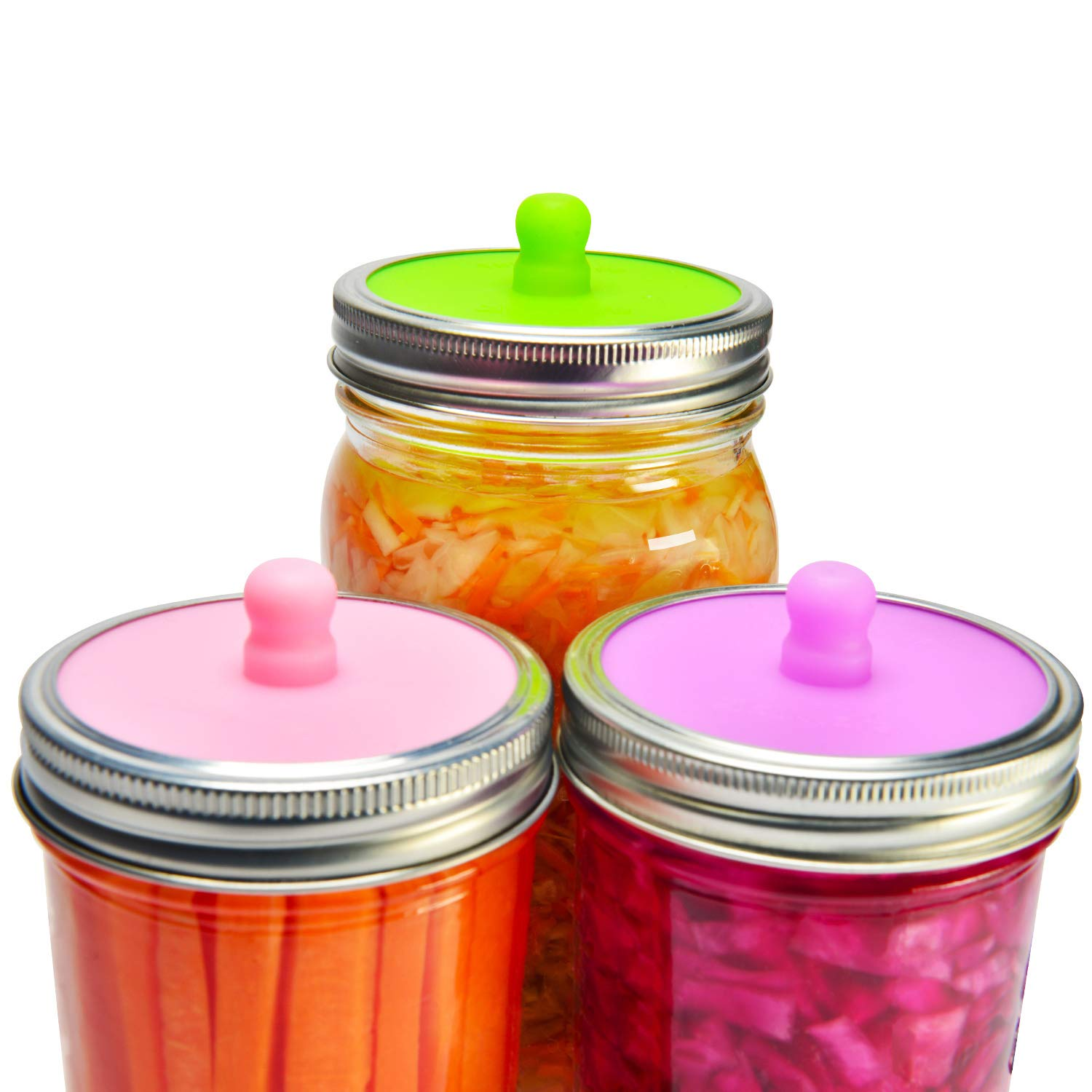 6-Pack Waterless Airlock Fermentation Lids for Wide Mouth Mason Jars, Mold Free, Food-Grade Silicone Easy Fermenting Lids for Sauerkraut, Kimchi, Pickles or Any Fermented Probiotic Food (3 Colors) siliware