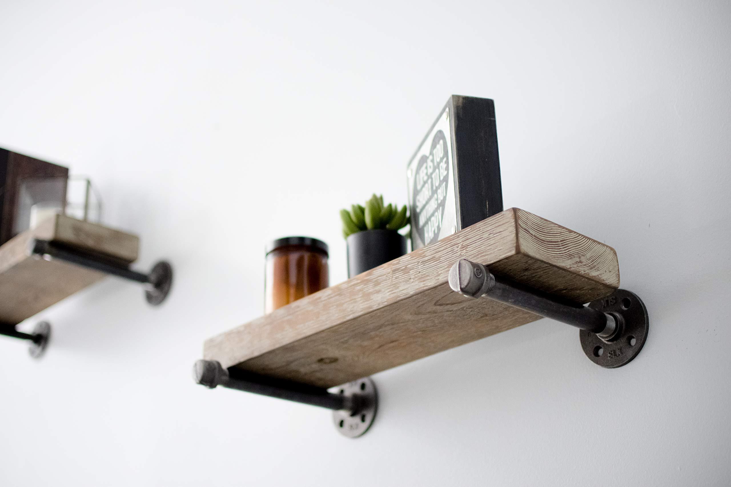 rustic pipe decor industrial shelf brackets set of four industrial steel 19442352189 ebay. Black Bedroom Furniture Sets. Home Design Ideas