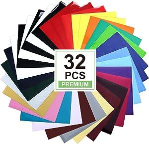 "CAREGY HTV Heat Transfer Vinyl Bundle: 32 Pack Assorted Colors 12""x10"" Sheets, Iron On Vinyl"