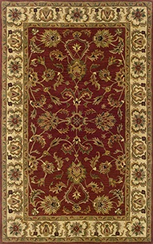 9 6 x 13 6 Rectangular Oscar Isberian Rugs Area Rug Red Ivory Color Handmade India Windsor Collection