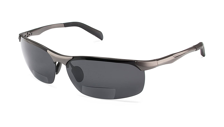 Dark Gunmetal Sport SZ  Sporty HalfRim BiFocal Reading Sunglasses for Men and Women  Dark Gunmetal