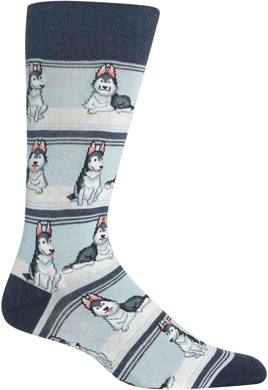 Hot Sox Huskies Crew Socks, 1 Pair, Men's 6-12.5