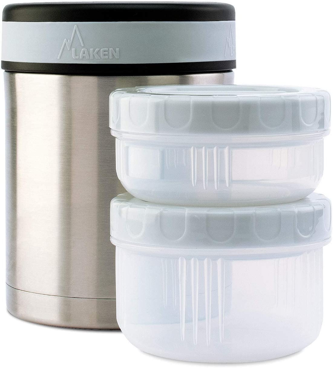 Laken Thermo Vacuum Insulated Stainless Steel Food Jar Container w/Cover and 2 PP Containers