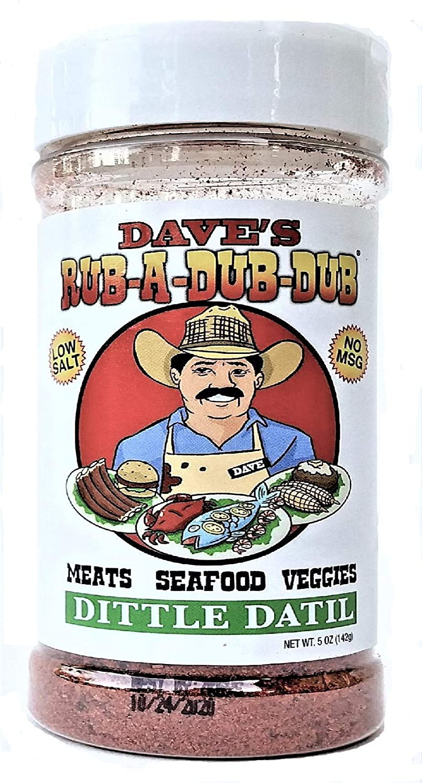 Dave's Rub a Dub Dub Dittle Datil Seasoning Dry Rub BBQ Seasoning Low Sodium Spice Blend for Meats Seafood Veggies 5 OZ Shaker Bottle 2 Pack