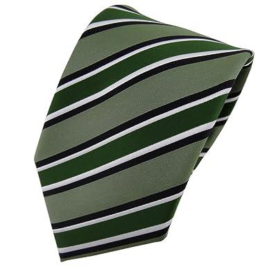 TigerTie - Corbata - verde negro blanco rayas - Tie: Amazon.es ...