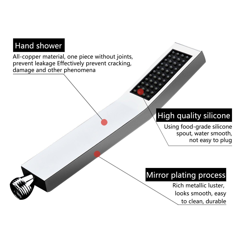 Handheld Shower Head Hand Shower Hand Shower Part Curved Square Hand Shower Brass Chrome