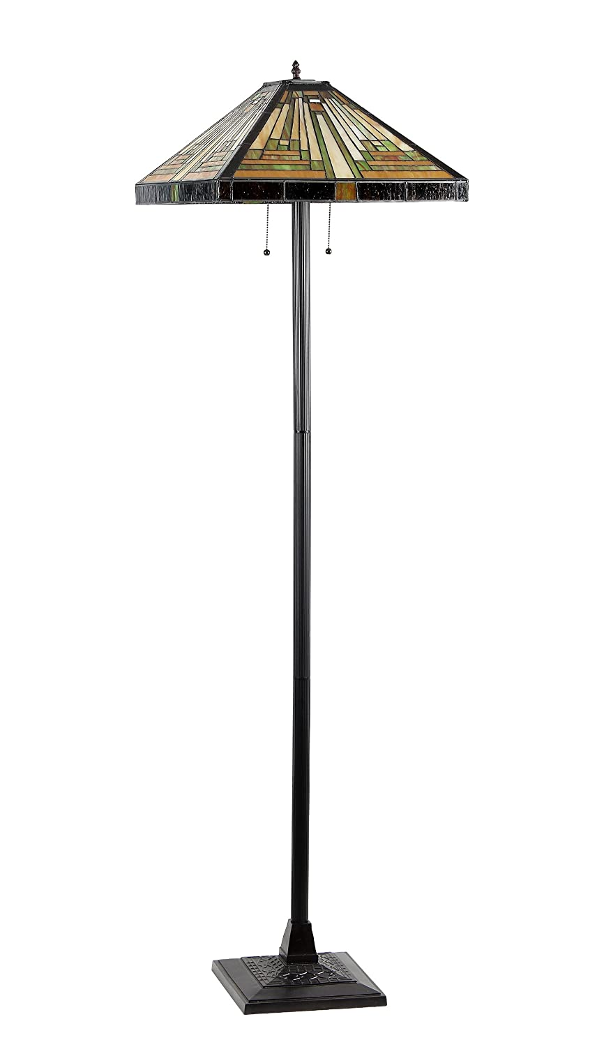 Chloe Lighting CH33359MR18 FL2 Innes Tiffany Style Mission 2 Light Floor Lamp With 18 Inch Shade