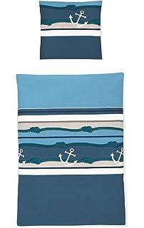 Irisette Seersucker Bettwäsche Calypso Anker Und Segelboot 155x220