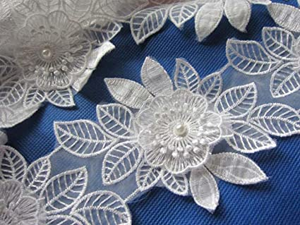 Set of lace applique flowers with pearls for sale in