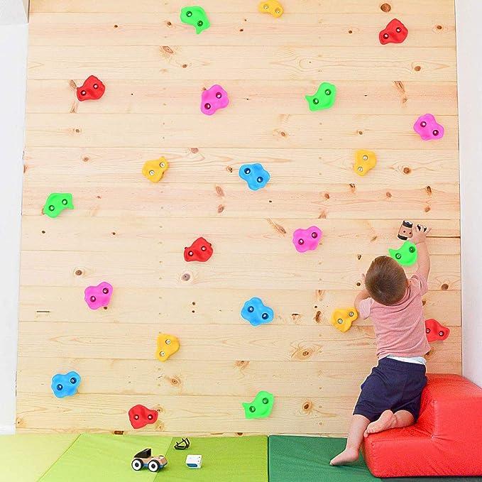 Odoland 10 pzas Presas de Escalada Kit para Niños con Forma Diferentes, Presas de Escalada para Bricolaje Muro de Escalada, Piedras de Escalada para ...