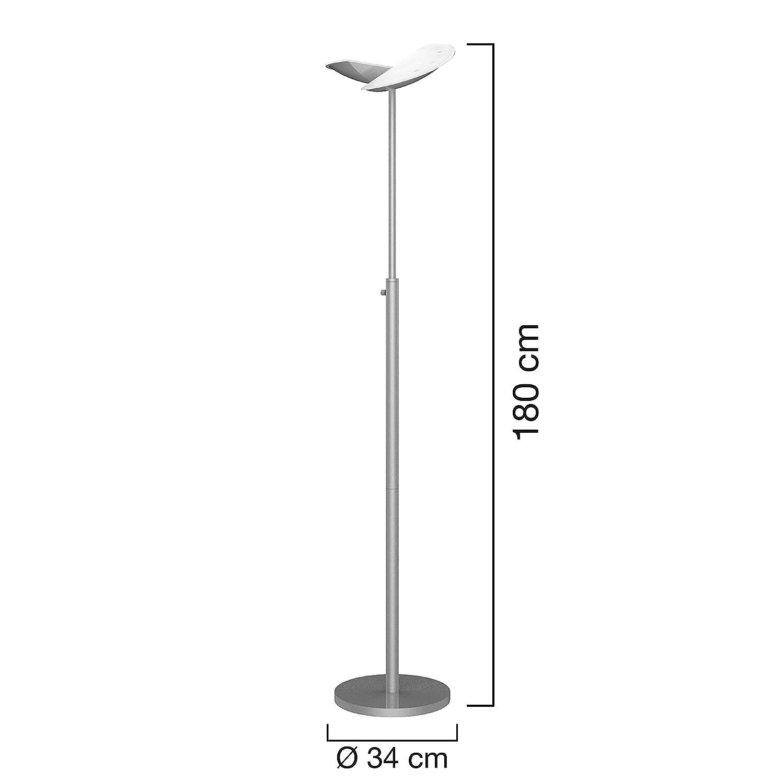 40/W L/ámpara de pie blanco c/álido L/ámpara de suelo para directa de y indirecta beleutung gris Unilux 400100711/elegante dise/ño Foco LED al techo IP20