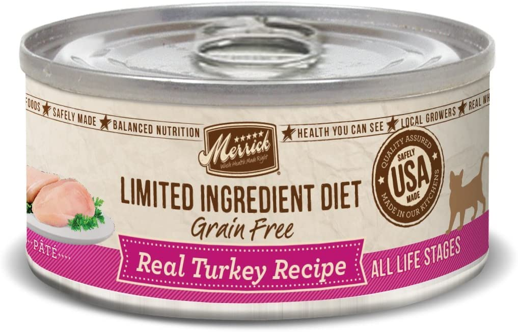 Merrick Grain Free Limited Ingredient Diet Real Meat Adult Wet Cat Food Turkey (24) 5oz cans