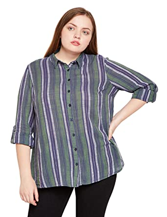 c07e6c23b oxolloxo Women's Cotton Striped Shirt with Long Sleeves (Multicolour,  X-Large)