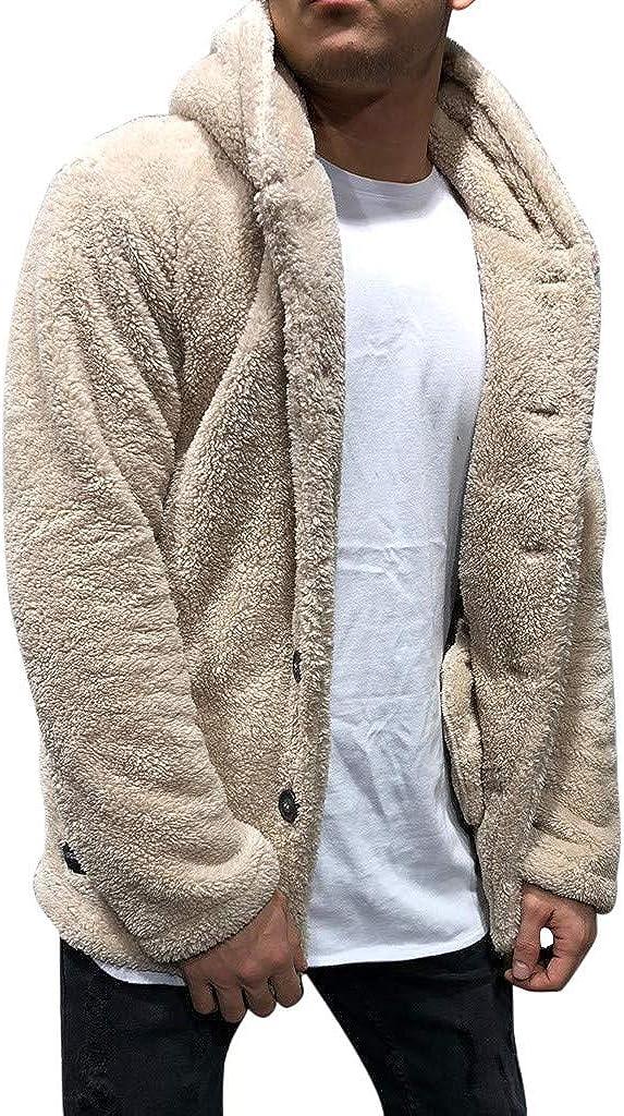 Chaqueta de Felpa Hombre Abrigo Hombres Invierno con Capucha Cardigan Caliente Suave Cómodo Hoodie Color Sólido Moda Ropa Casual Deporte Jackets Yvelands