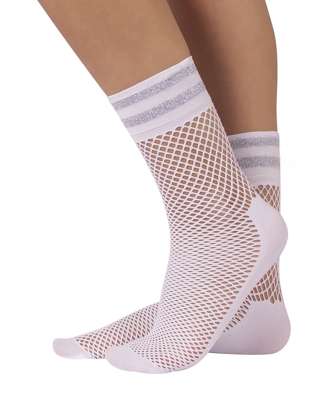 Talla Unica Calceteria Italiana   CALZITALY 4 Pares de Calcetines de Rejilla Con Suela Confort Blanco Negro Calcetines con Rayas Lurex