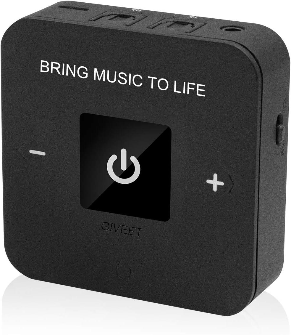 Giveet aptX BAJO LATENCIA Bluetooth transmisor Receptor de Audio para TV, Enlace Doble, Optical, 3,5 mm AUX y RCA Adaptador inalámbrico para el Inicio Altavoz de Auriculares 25 Horas de Juego