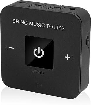 Giveet aptX BAJO LATENCIA Bluetooth transmisor Receptor de Audio para TV, Enlace Doble, Optical, 3,5 mm AUX y RCA Adaptador inalámbrico para el Inicio Altavoz de Auriculares 25 Horas de Juego: Amazon.es: