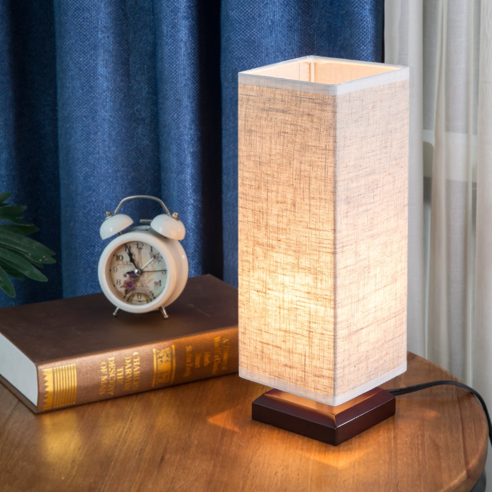 ZEEFO Bedside Table Lamp, Retro Style Solid Wood Table Lamps with Fabric Shade Nightstand Mini Desk Lamps for Bedroom, Living Room, Baby Room, Bookcase (Square) by ZEEFO (Image #8)