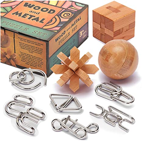 Brain Teasers Metal and Wooden Puzzles