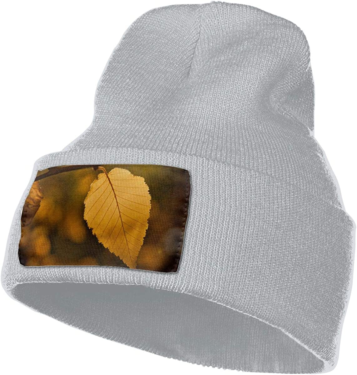 Yubb7E Leaves-Fall Warm Knit Winter Solid Beanie Hat Unisex Skull Cap