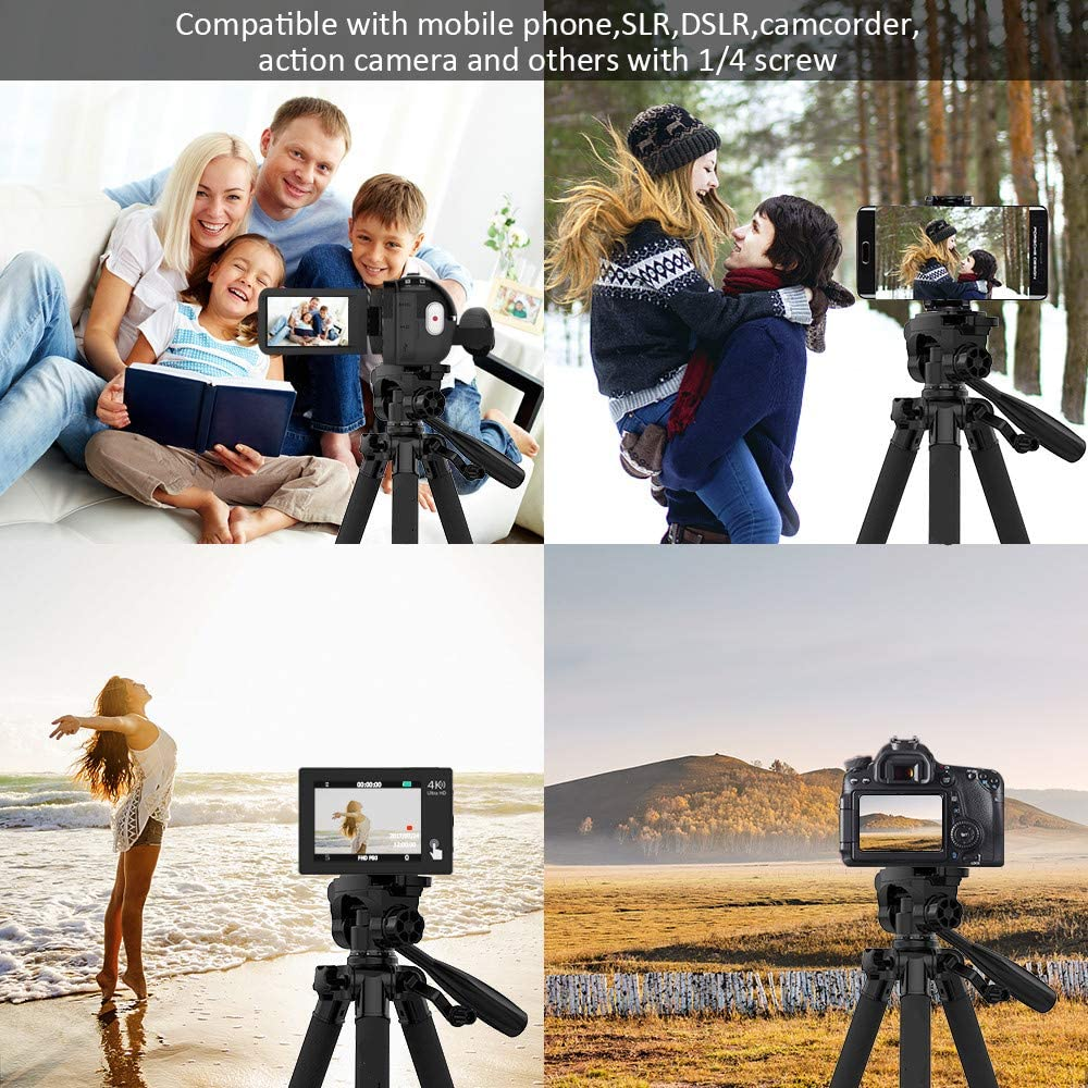 FDGBCF 57.5inch Camera Tripod for Photography Video Shooting Support DSLR SLR Camcorder with Carry Bag Phone Clamp