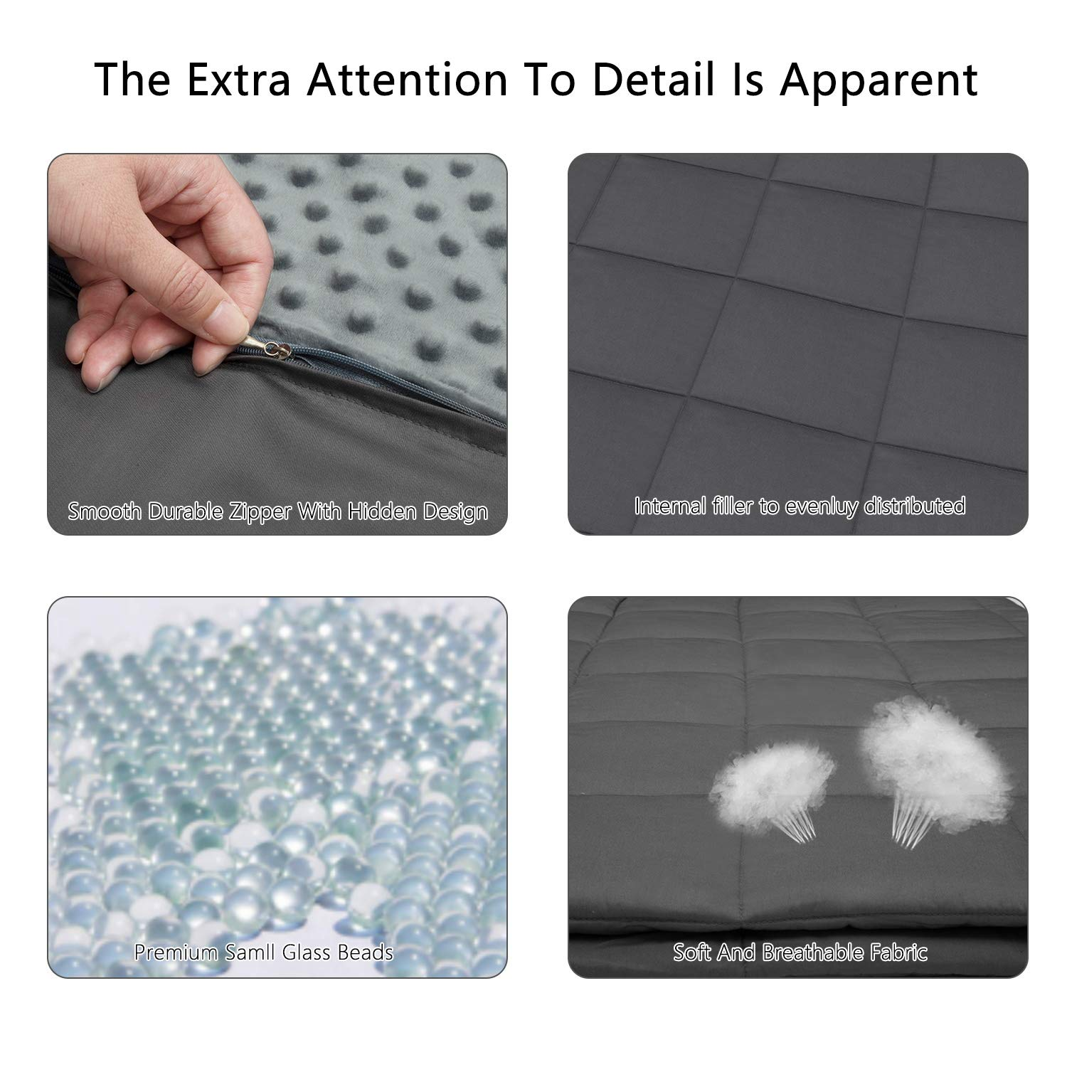 Stress ADHD,Grey Weighted Blanket with Removable Cover for Adults,Size60/×80 20 lbs for Individual Between 180-220 lbs,Set with Bamboo and Minky Duvet Covers Dual Sided,Compression Therapy for Anxiety Insomnia