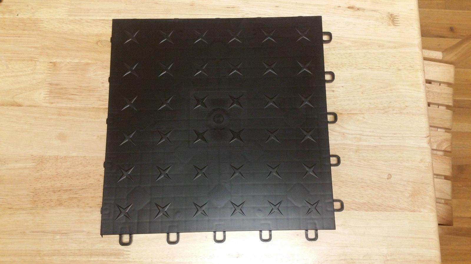 JSP Plastic Black Garage Tile Garage Floor Tiles Interlocking Basement Mat Black Diamond plate Made in USA (100) by JSP Manufacturing (Image #1)