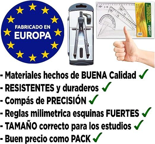 Pack Compas Escolar Secundaria Juego de Reglas Escuadra y Cartabon ...