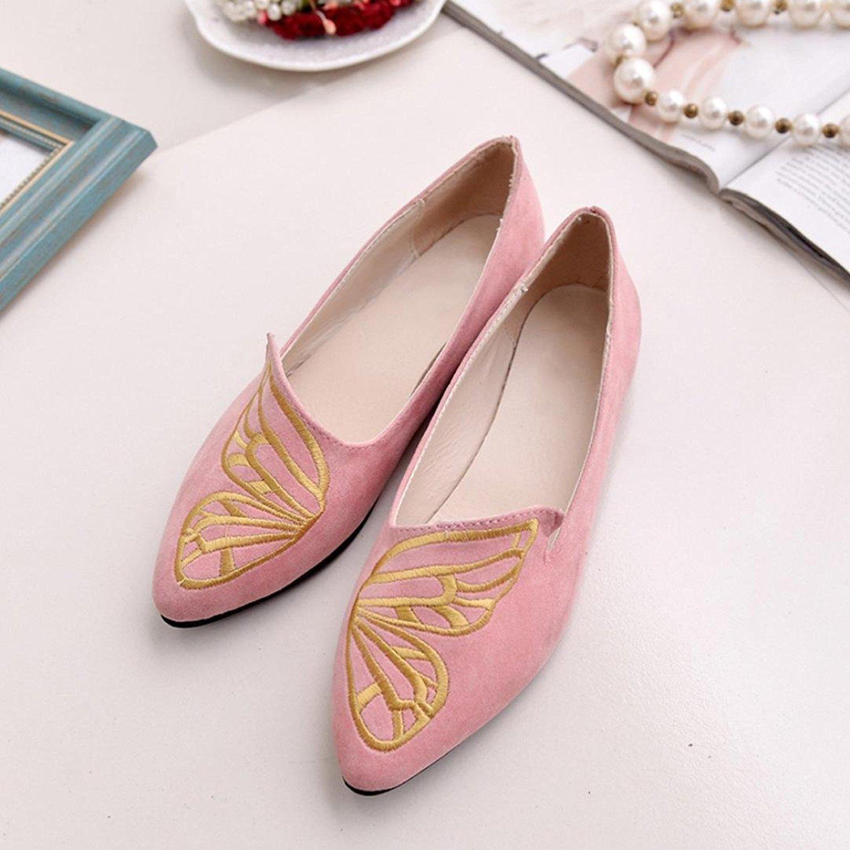 keephen Scarpe da Donna Piatte Ricamate a Farfalla in Eleganti Pelle Scamosciata Eleganti in Ballerine (Rosa)  Rosa ca32cf