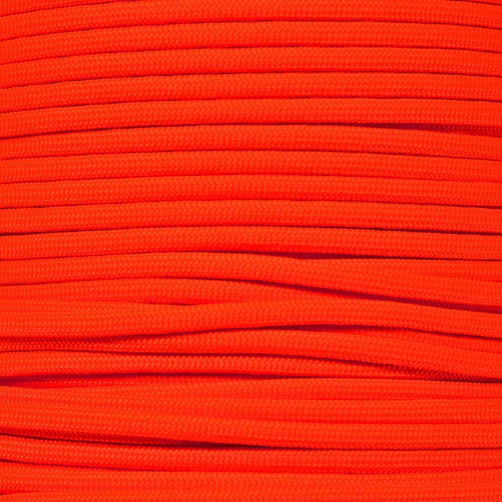 PARACORD PLANET 10 20 25 50 100 Foot Hanks and 250 1000 Foot Spools of Parachute 550 Cord Type III 7 Strand Paracord (Neon Orange 100 Feet)