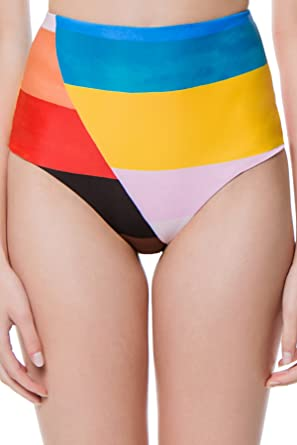 2e5aeaf5ca1a1 Mara Hoffman Women's Lydia Colorblocked High Waist Bikini Bottom Rainbow  Multi XS