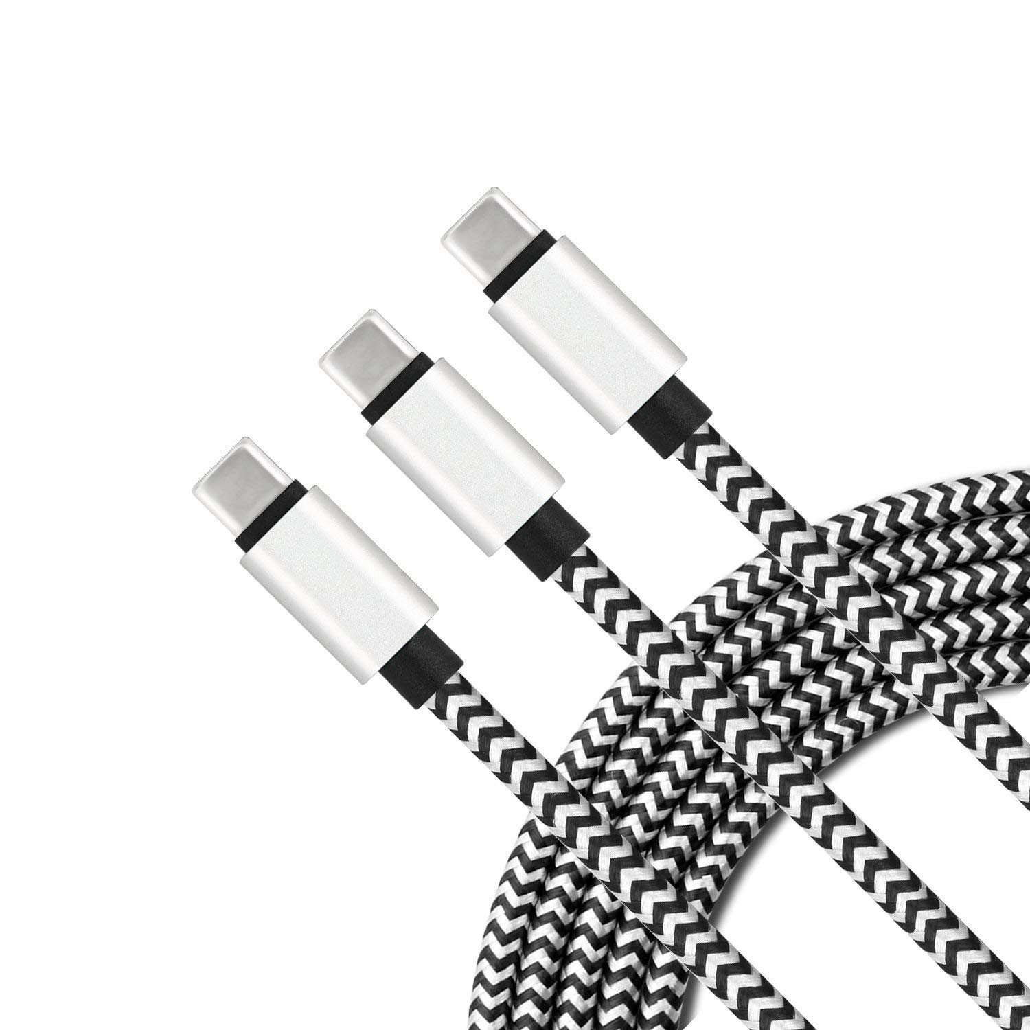 USB Type C Charger Cable [3-Pack, 6ft] Myckuu Fast Quick Charge USB-C Nylon Braided Cord for Samsung S9/S8 Plus, Galaxy Note 9/8, LG Stylo 4/G7 Thinq, ...