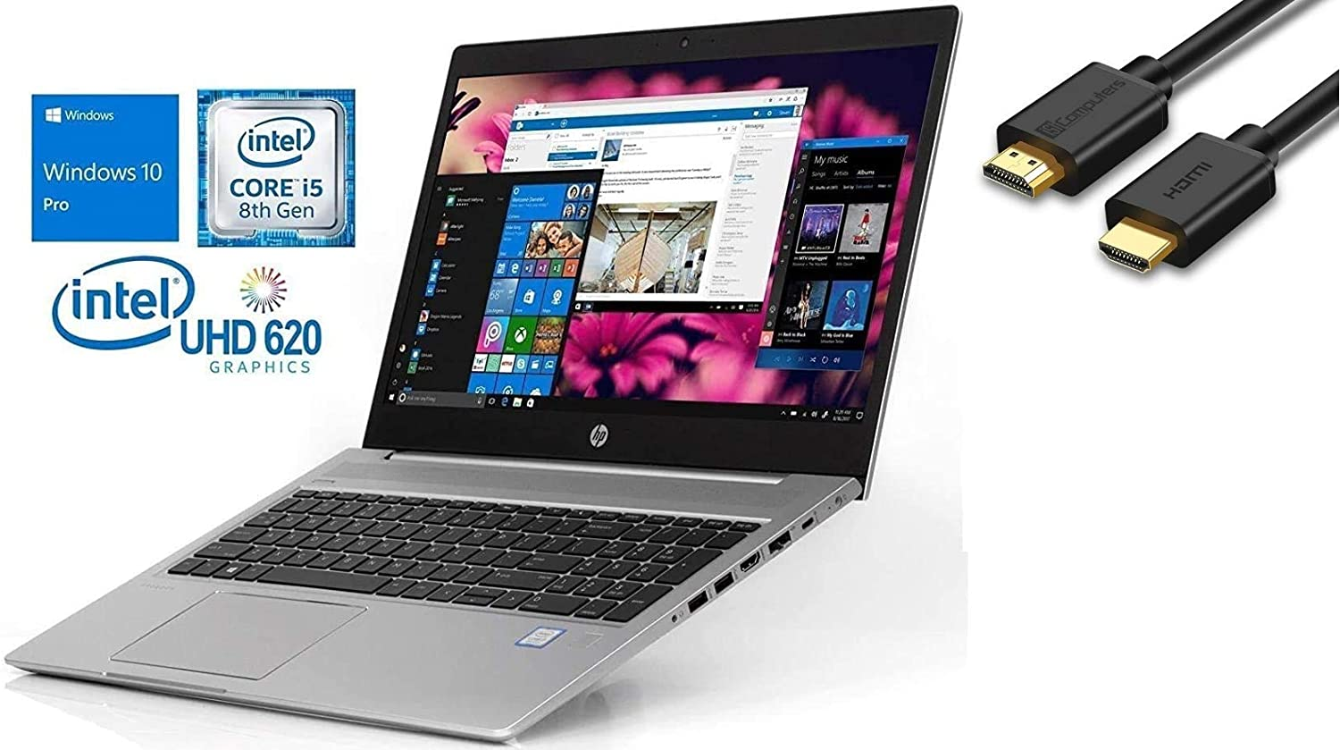 "2019 HP Probook 450 G6 15.6"" HD Business Laptop (Intel Quad-Core i5-8265U, 8GB DDR4 RAM, 256GB PCIe NVMe M.2 SSD, UHD 620) USB Type-C, RJ45, HDMI, Windows 10 Pro+ IST HDMI Cable"