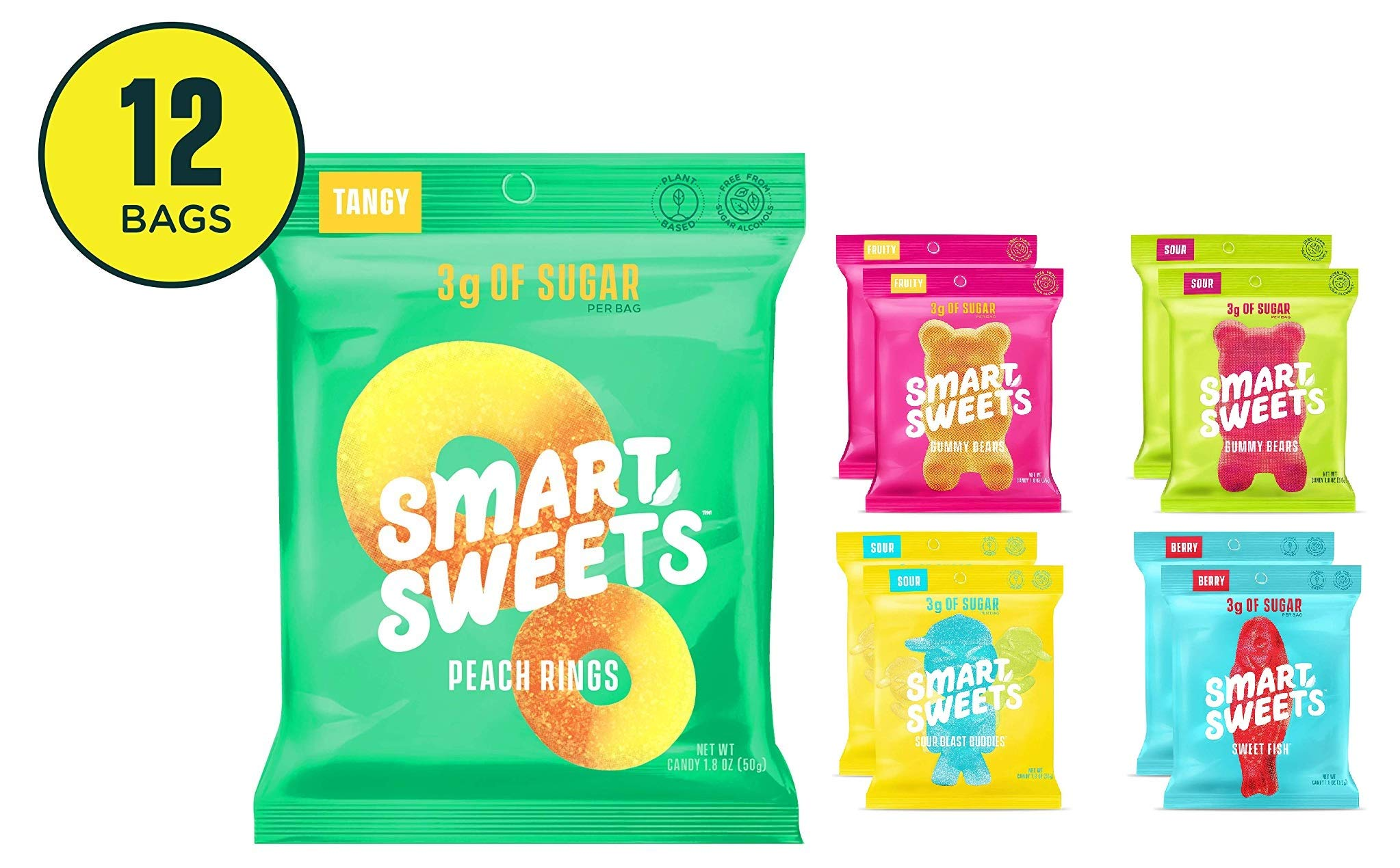 Peach Rings 1.8 Oz Bags (Box Of 12) & Variety Pack 1.8 oz Bags (Box of 8) Bundle Edition by SmartSweets