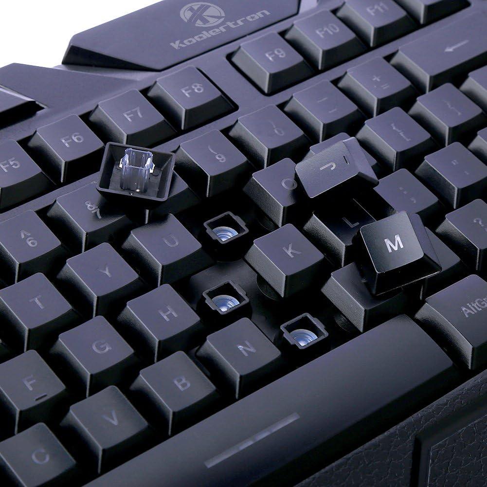 Koolertron- LED Gaming Keyboard/Teclado de Juego Ergonómico con teclas retroiluminadas Tricolor (púrpura/azul/rojo) en QWERTY Gaming Multimedia ...