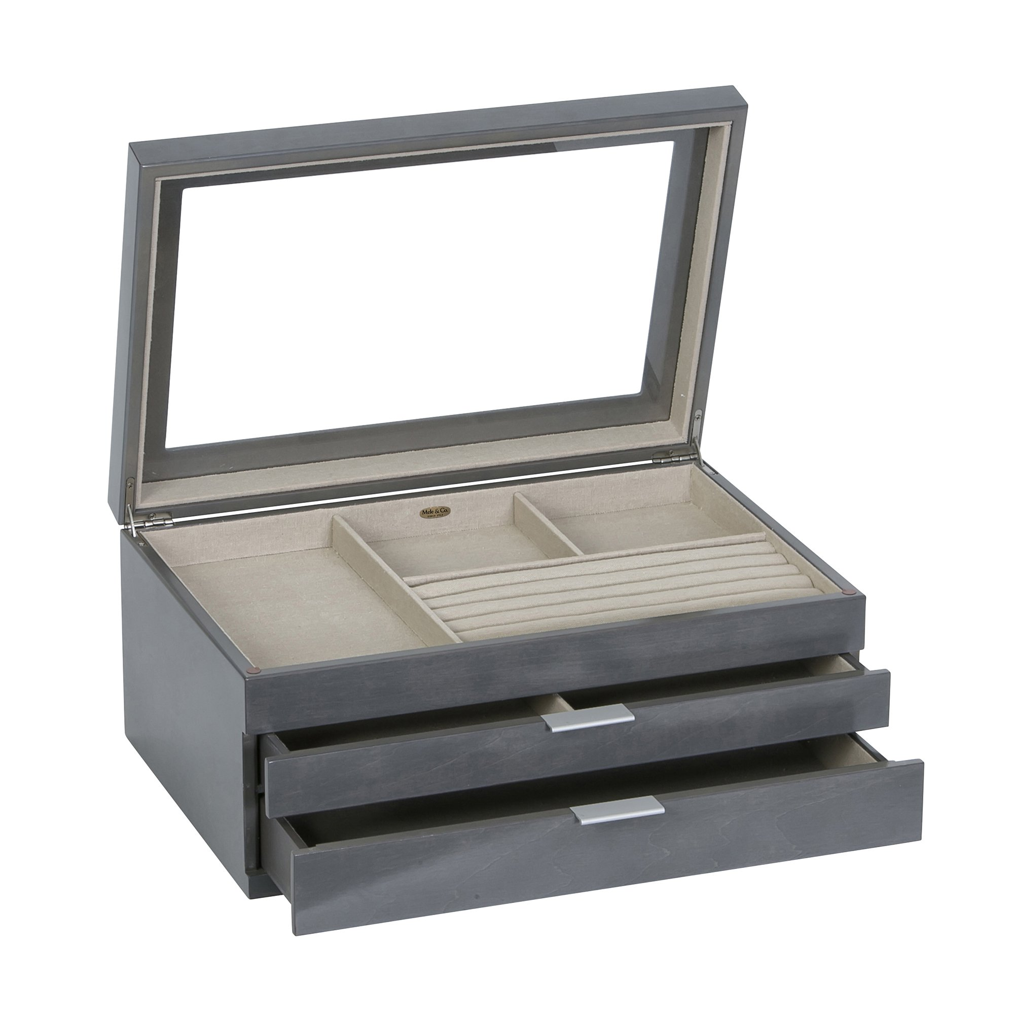 Mele & Co. Misty Glass Top Wooden Jewelry Box (Oceanside Grey Finish) by Mele & Co. (Image #3)