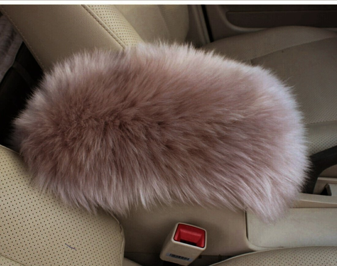 Pink Auto Center Console Armrest Pad Warm Winter Fluffy Wool Vehicle Center Console Arm Rest Seat Box Pad Cover Cushion Universal Fit for Most Car