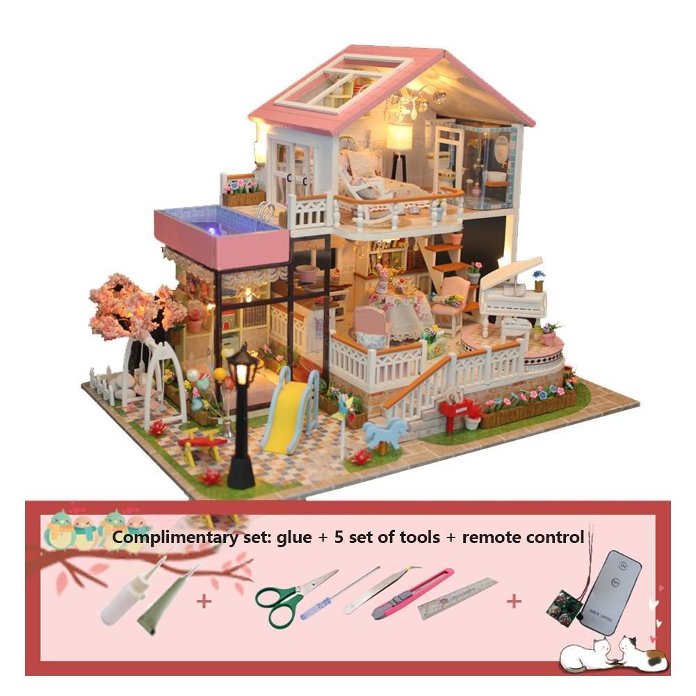 DIY Dollhouse avec la Plaque de Batterie de Lumi/ère LED, Maisons de poup/ées Maison de poup/ée de Villa DIY de vacances magnifiquement con/çu mod/èle de No/ël enfants jouet cadeau danniversaire