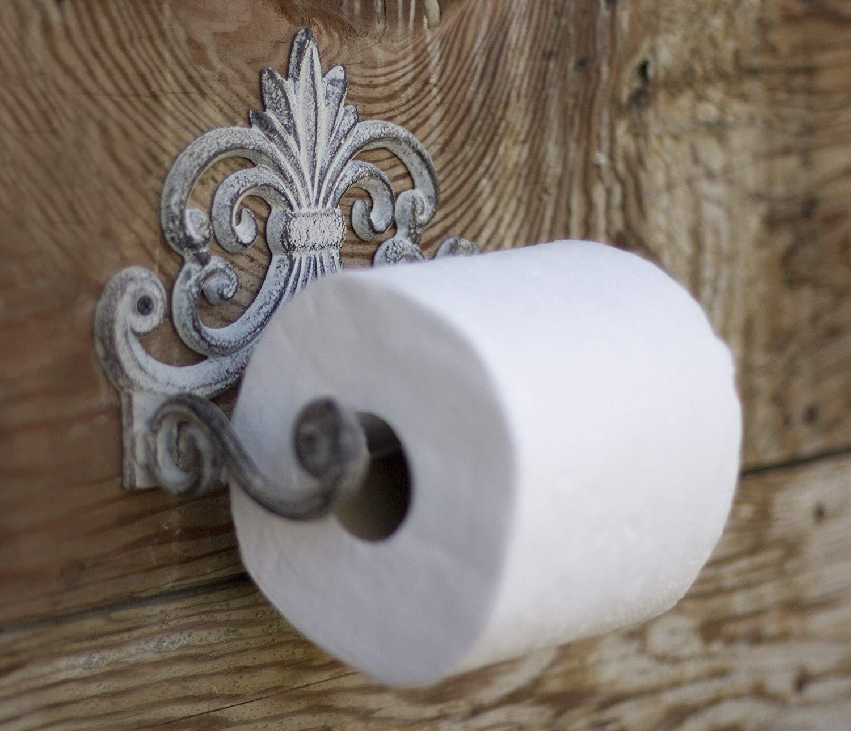Rouleau de Papier Toilette en Fonte Argent Noir Comfify Fleur De Lis Porte