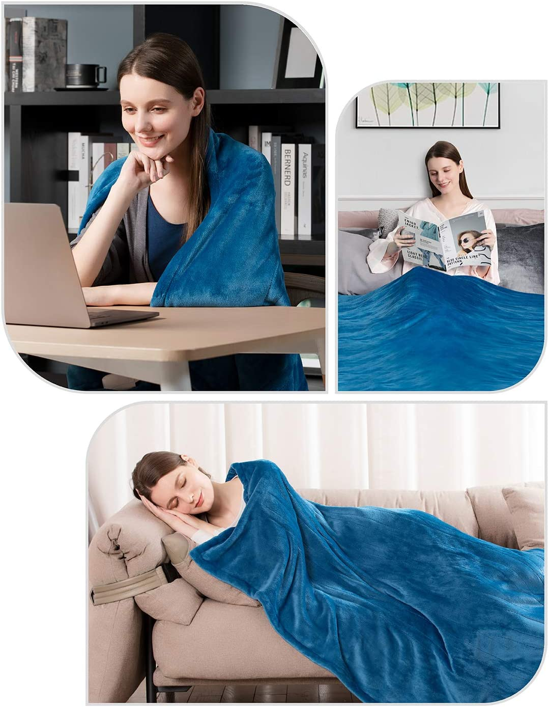 """iTeknic Heated Blanket Electric Throw, 60""""x 50"""" Flannel Electric Blanket with 10 Heating Levels & 1H/2H/3H Auto Off, ETL Certified, Overheating Protection Heated Throw, Machine Washable (Blue): Home & Kitchen"""