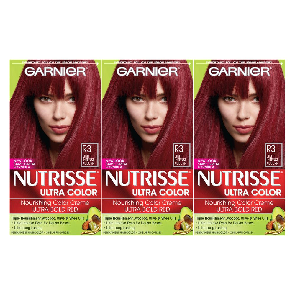 Garnier Nutrisse Ultra Color Nourishing Hair Color Creme, Light Intense Auburn, 3 Count  (Packaging May Vary)