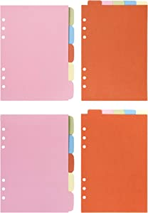 Bluecell 2 Sets Vertical Tabs & 2 Sets Horizontal Tabs Paper Divider Index Page Tab Cards for 6-Holes Ring Binders Filofax Notebooks Travel Diary Journal Planner (Color, A5)