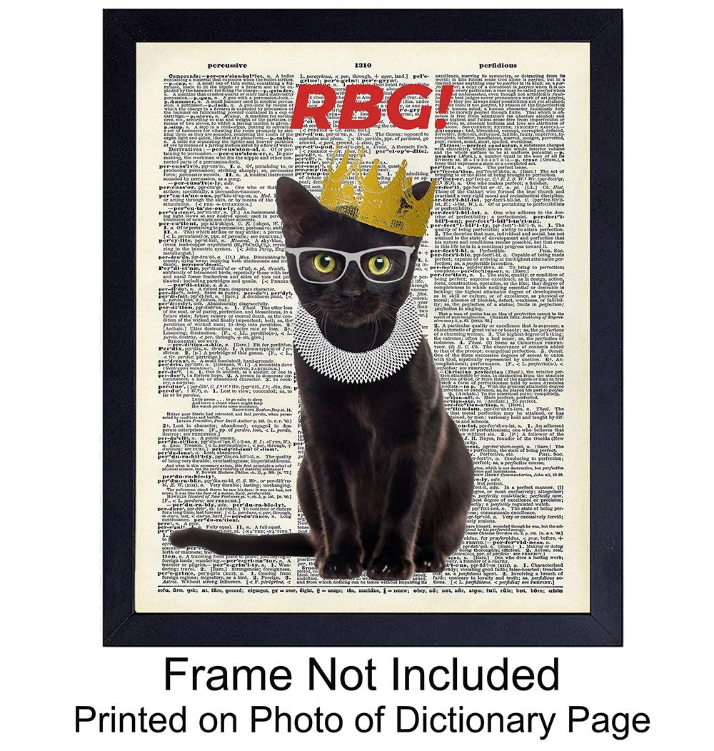 Ruth-Bader-Ginsburg-Cat-Wall-Art-Print-on-Dictionary-Photo-Ready-to-Frame-8X10-Vintage-Photo-Great-Home-Decor-or-Gift-For-Lawyers-or-Attorneys