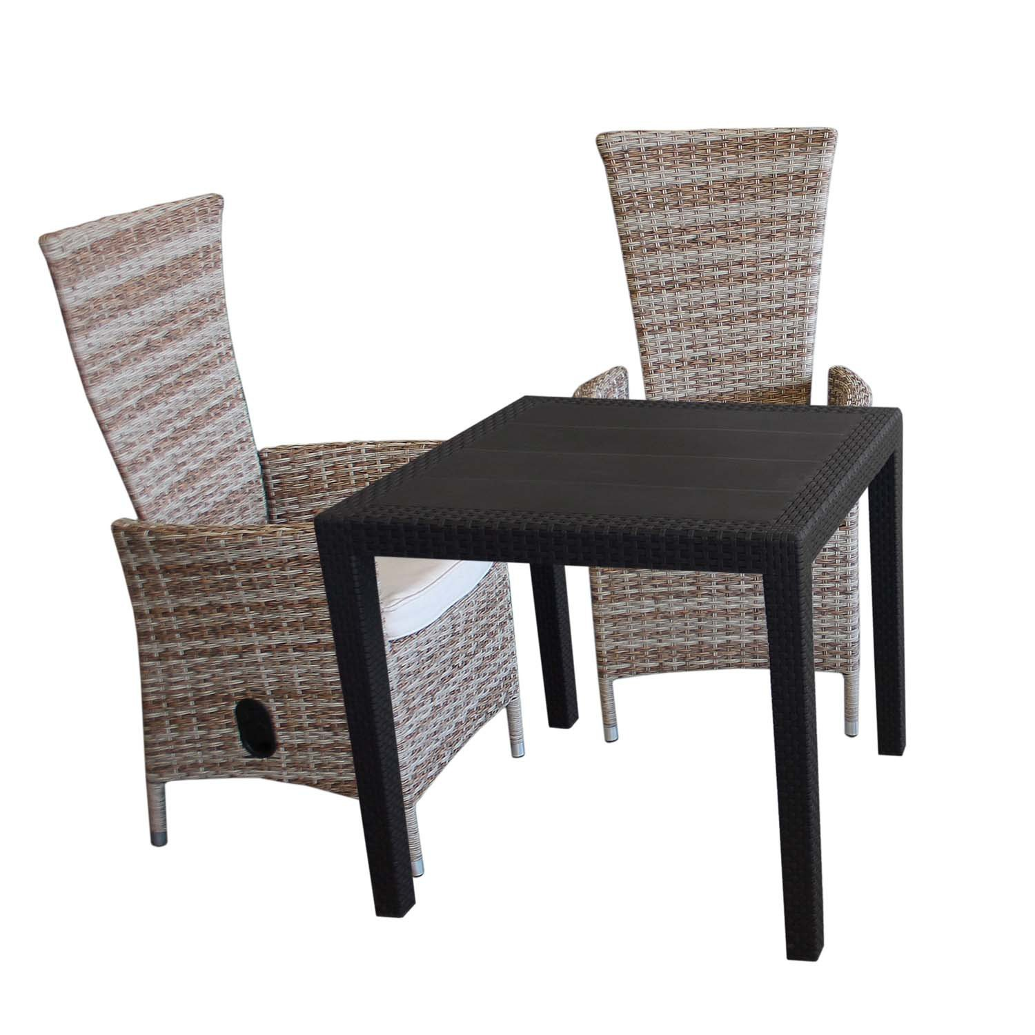 3tlg gartengarnitur bistrotisch 79x79cm rattan optik kunststoff schwarz 2x poly rattan. Black Bedroom Furniture Sets. Home Design Ideas