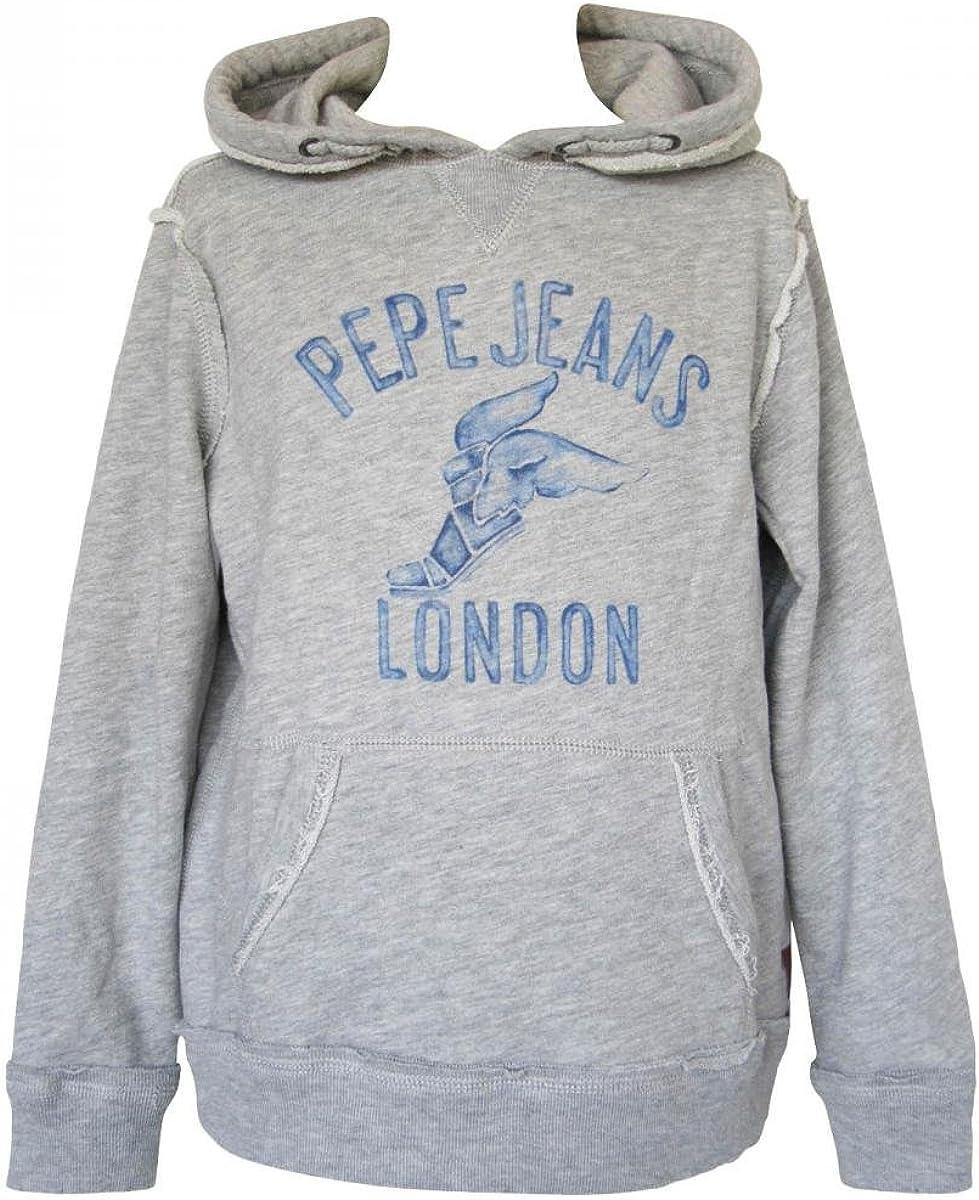 Pepe Jeans Sweat à Capuche Manches Longues en Molleton Gris