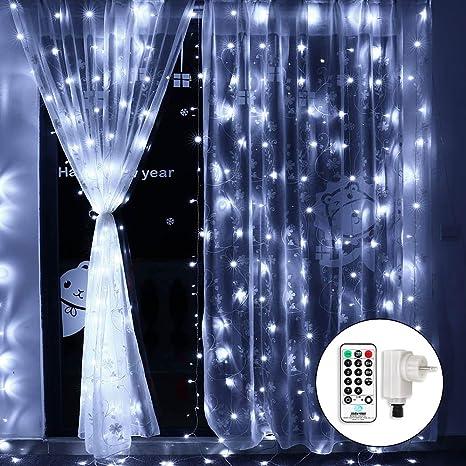Tende Luminose Da Esterno.Qedertek Cascata Di Luci Esterno Ed Interno Tenda Luminosa Prolungabile 3x3 M 300 Led Tenda Di Luci Led Natalizie Esterno Luci Bianco Per Addobbi