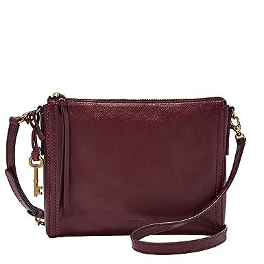 moderner Stil zuverlässige Qualität großer Rabatt Fossil Emma Crossbody Rot Damen Handtasche Tasche Schultertasche Leder  Umhängetasche Schulter Umhänge Taschen