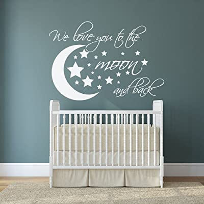 Ditooms Love Quotes Wall Decals Stars We Love You to The Moon and Back Quote Nursery Vinyl Wall Decals: Kitchen & Dining